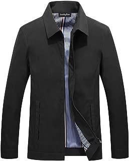 LuckyBov Men Comfortable Lightweight Jacket Full Zipper Casual Turn-Down Collar Business Coat