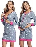 Hawiton Camison Lactancia Hospital Pijama Lactancia Manga Larga Camisones Embarazada Algodón Ropa para Dormir Premamá Invierno de Punto