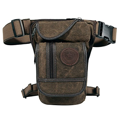 WESTLINK Men Canvas Thigh Drop Leg Pouch Bag Waist Fanny Pack Motorcycle Riding Cycling Outdoors Sports, Brown