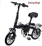 Jannyshop 14' Folding Electric Bike with 48V 12AH Lithium Battery 350w...