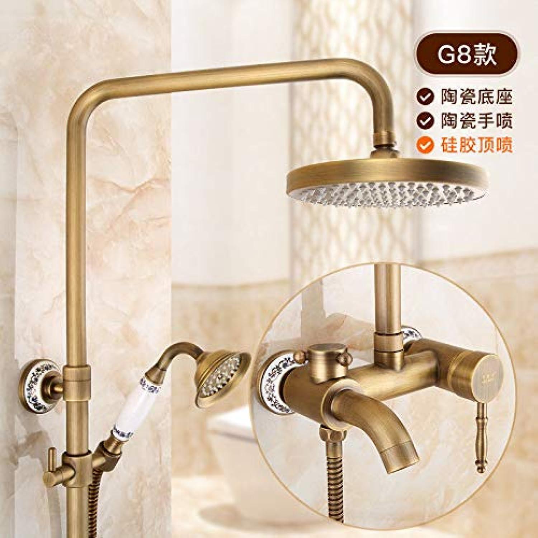 Hlluya Wasserhahn für Waschbecken Küche Retro mit anheben Dusche warm kalt Wasserhahn Bad Wandmontage kit Dusche P