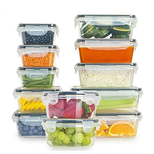 12 herméticos de almacenamiento de alimentos con tapas PP+silicona BPA conjunto de contenedores de alimentos duraderos 100% a prueba de fugas garantizado,congelador, icroondas y lavavajillas