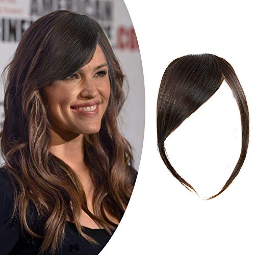 Shinon Thick Side Bangs Natural Clip on Bangs Real Human Hair Side Swept Bangs Clip in Fringe Bangs Hair Extensions Dark Brown