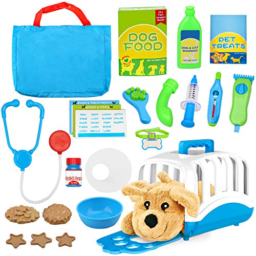 Vanplay Pet Care Toy Role Play Set with Puppy Dog Carrier Doctor Vet Kit Pretend Examine Treat Plush Dog Toys Grooming Feeding for Kids Children 3 4 5 6