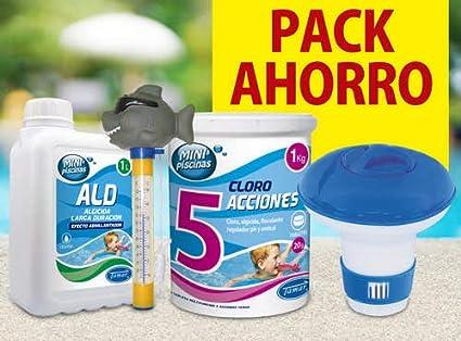 Tamar Pack Ahorro Mini Piscinas, Tabletas Cloro, algicida, clorador y termometro