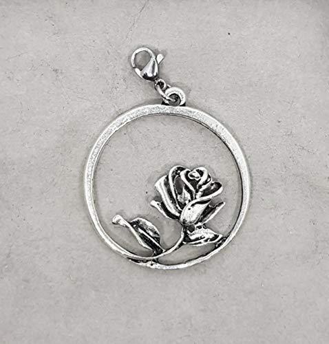 Ring mit Rose Tracht Charivari Anhänger Karabiner Bettelarmband Schlüsselanhänger Kette Farbe: silber