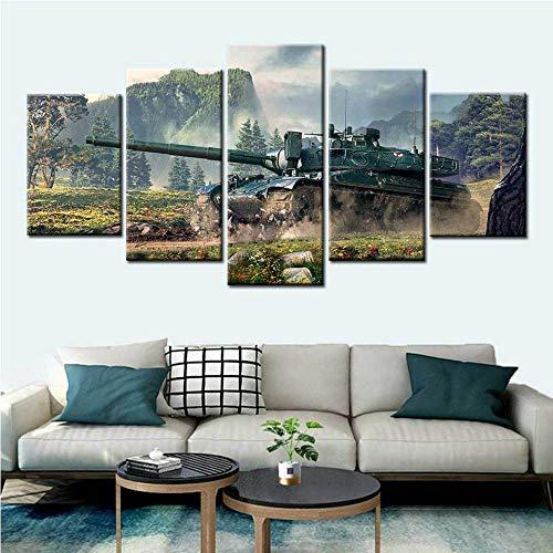 WJWORLD World of Tanks Videospiele Poster 5 Stück HD Leinwand Wandkunst Modulare Wandbilder für Wohnzimmer Dekor Malerei Geburtstagsgeschenk-100 * 55cm-Rahmenlos