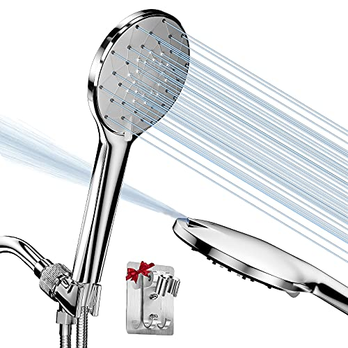 Handheld Shower Head, High Pressure 6 Spray Setting Shower Head Kit - Jet Water Mode to Clean Tub, Tile & Pets - with 59'' Stainless Steel Hose, Adjustable Arm Mount and Wall Bracket for Bath Shower