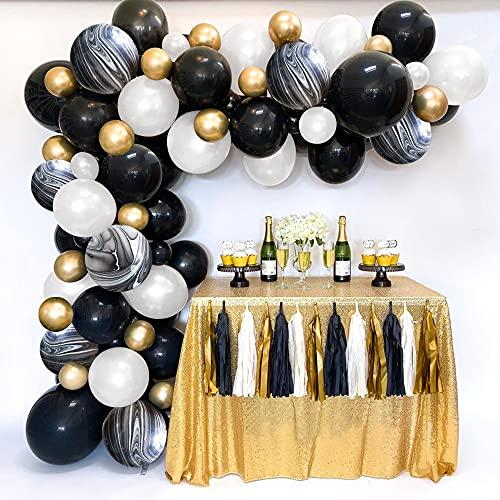 TOLOYE Kit Arco Globos Oro Negro, Kit Guirnalda Globos Oro Metálico Negro Blanco para Hombres, Mujeres Fiesta Cumpleaños Boda Graduación, Fiesta Halloween Ramadán Decoraciones