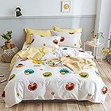 BH-JJSMGS Vierteiliges Bett aus Baumwolle, blau-rosa Laken und 2 Kissenbezüge, 180 * 220 cm
