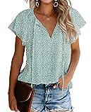 BIOHANBLE Womens Summer Cute Floral Ruffle Short Sleeve V Neck Casual Boho Loose Ladies Tops Shirts Blouses Light Green