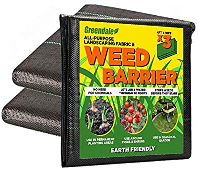 Greendale - 3 Pack of 4 Foot x 10 Foot Sheets - Landscape Weed Barrier Fabric (120 Square Feet of Total Coverage) - Heavy Duty Landscaping