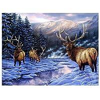 油絵 数字キットによる絵画 塗り絵 大人 手塗り 鹿動物の雪景色 DIY絵 デジタル油絵 40x50cm (diyの木製フレーム)