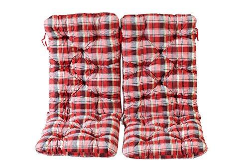 Ambientehome Lot de 2 Coussins a carreux Haut Dossier HANKO Maxi pour Fauteuil de Jardin, Coton, ca. 120 x 50 x 8 cm, Ton Rouge, 120x50x8 cm