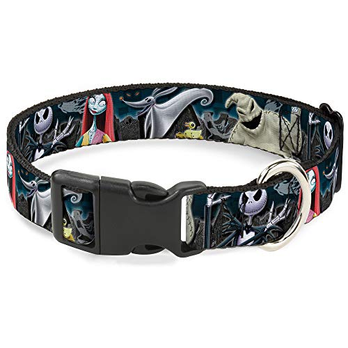 Buckle-Down Plastic Clip Collar - Nightmare Before Christmas 4-Character Group/Cemetery Scene - 1