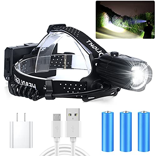LED Rechargeable Headlamps, Alifa 90000 Lumens Headlamps for Adults, Head Lamps Outdoor Led Rechargeable, Waterproof, 3 Modes, USB Head Flashlight for Hiking, Running, Fishing, Camping (p90.2)