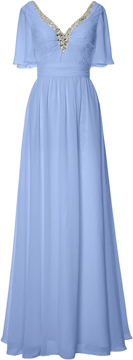 1940s Dress Styles MACloth Women Long Mother of Bride Dress Short Sleeves V Neck Formal Evening Gown $129.00 AT vintagedancer.com