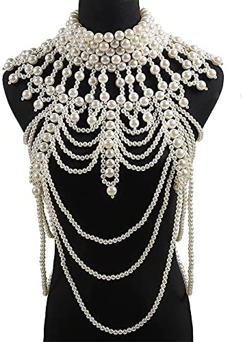 baidicheng Retro Advanced Pearls Crystal Body Jewelry Chain Sexyhandmade Beaded Women Necklace (Metal Color : White Big)