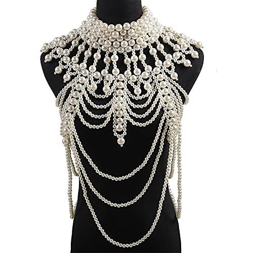 tggh Cadena de hombro con borla, cadena de joyería de cristal, cuentas hechas a mano, vestido de novia para mujer, collar grande (Color de metal: blanco grande)