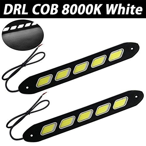 TABEN Lot de 2 ampoules LED COB DRL étanches IP67 en caoutchouc souple souple et flexible 5 W 12 V à rabat fin pour voiture Blanc