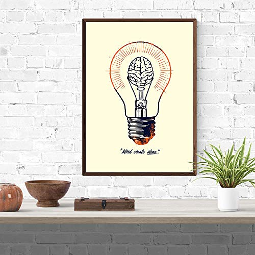 KDSMFA Hauptdekoration Leinwand HD-Drucke Einfache Buchstaben Poster Malerei Wohnzimmer Wandkunst Modular Mind Cieate Ideas Bild -19x27 Zoll (kein Rahmen)