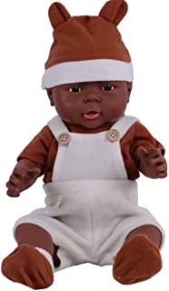 African American Boy Baby Doll 16 Inch Soft Washable Black Demonstration Baby Dolls for 3 Year Old Girls Gift
