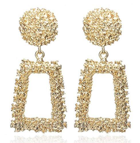 Orecchini alla moda, gioielli per ragazze Orecchini quadrati geometrici versatili in metallo, oro