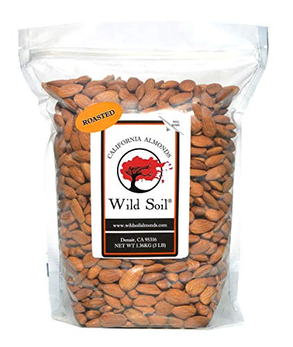 Wild Soil Almonds - Number 1 Higher Protein Almond, Distinct and Superior to Organic, Patent Pending Technology that Regenerates Soil, Herbicide Free, Probiotic, Unsalted, Roasted, 3LB Bag