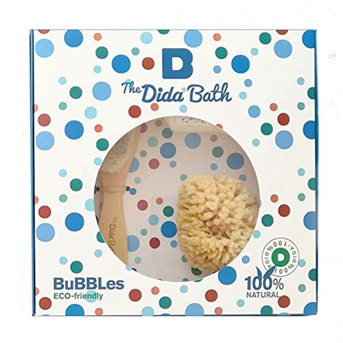 The Dida World Bath Bubbles - Esponja natural, cepillo de madera, toallita de algodón orgánico