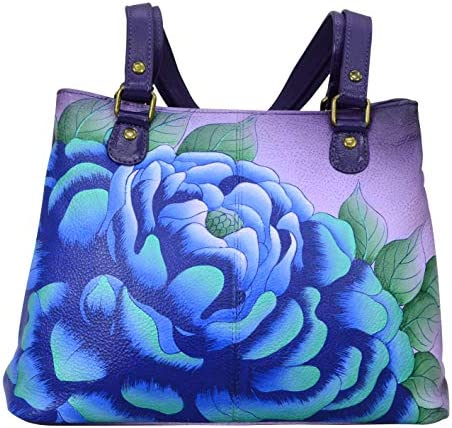 Anna by Anuschka Satchel Shoulder Handbag Genuine Leather Precious Peony Eggplant product image