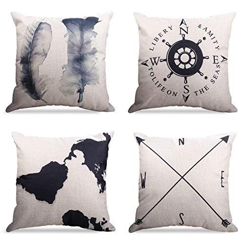 4er Set Dekorativ Kissenbezug Geography Theme 45 x 45cm Sofa Büro Dekor Kissenhülle aus Baumwoll und Leinen, Schwarz und Beige
