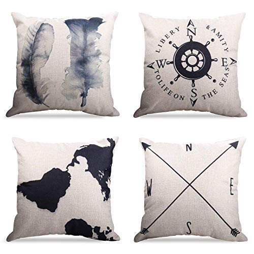 4er Set Dekorativ Kissenbezug Geometrische Muster, Sofa Büro Dekor Kissenhülle aus Baumwoll und Leinen (Geography Muster, 45X45cm)