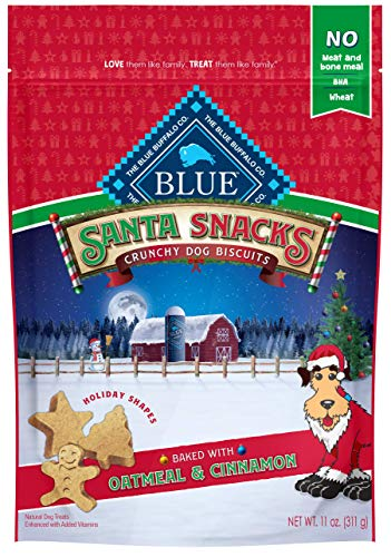 Blue Buffalo Holiday Santa Snacks Oatmeal & Cinnamon Crunchy Dog Treats
