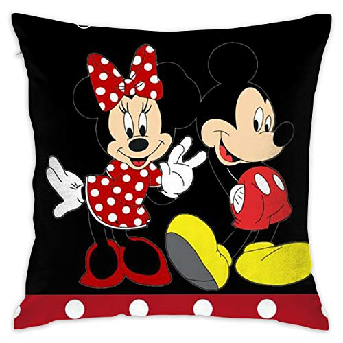 LIUYAN Pillow Cover Cushion Cover Mickey Mouse Decorative Pillow Case Sofa Seat Car Pillowcase Soft 18x18 Inch