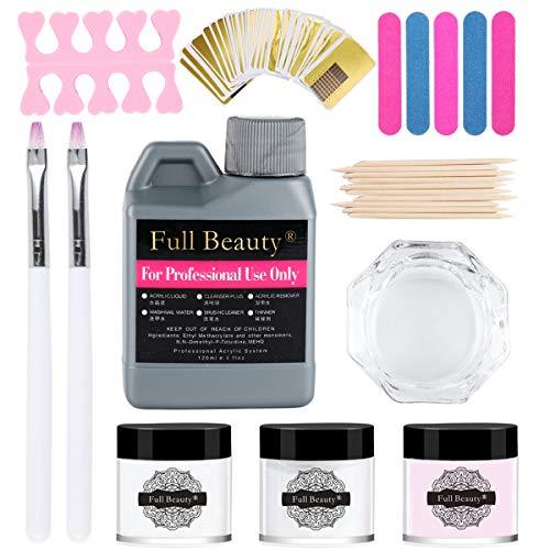 White/Clear/Pink Acrylic Powder and Liquid Set, Nail Art Kit(Nail Pen, Nail...
