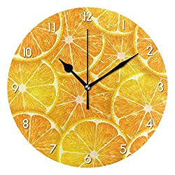 Promini Sweet Oranges Wooden Wall Clock 15Inch Silent Battery Operated Non Ticking Wall Clock Vintage Wall Decor for Kitchen, Living Room, Bedroom, School, or Office