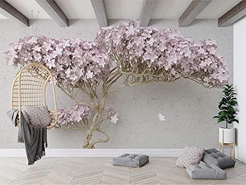 XHXI Papel tapiz de cereza 3D Flor rosa Árbol gigante Fondo de TV 3D Murales de dormitorio Papel tapiz moderno 3D papel Pintado de pared tapiz Decoración dormitorio Fotomural-430cm×300cm