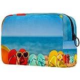 Makeup Bag Organizer Kleine Cosmetic Bags for Women Travel Kulturbeutel Makeup Case Geldbörse Handtasche Strandball und Schnorchel auf dem Sand