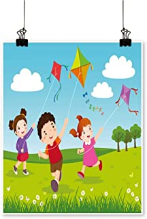 Canvas Wall Art Romantic Three Kids Fly Kites in The Park for Home Decoration,28