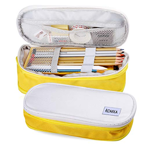 eZAKKA Pencil Bag Pouch, Pen Case Holder Big Capacity Office College School Large Storage Organizer, Yellow
