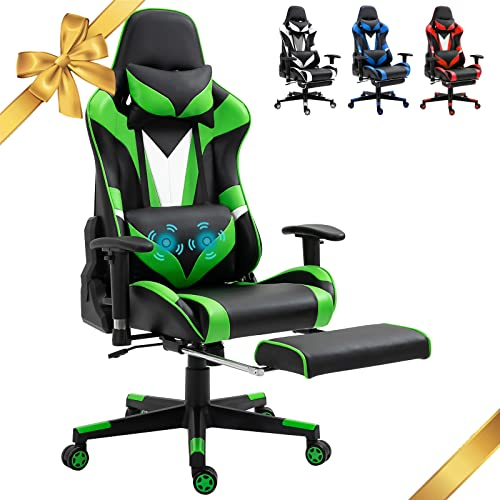 Blue Ergonomic Massage Gaming Chair Video PC Chair Racing Reclining Gaming Computer Chair with Footrest High Back Executive Office Desk Chair PU Leather Adjustable Swivel Task Chair,Blue (AO1-Green)