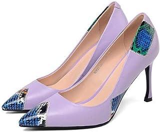 KTYXDE High-Heeled Shoes Women's Fashion Pointed High-Heeled Shoes Women's Shoes Shallow Shoes Spring and Summer 8CM Women's Shoes (Color : Purple, Size : EU36/UK3.5/CN35)