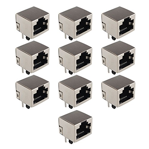 Futheda 10 Conectores de Red de PCB con Conector Jack RJ45 8P8C, Acopladores Ethernet de 180 Grados