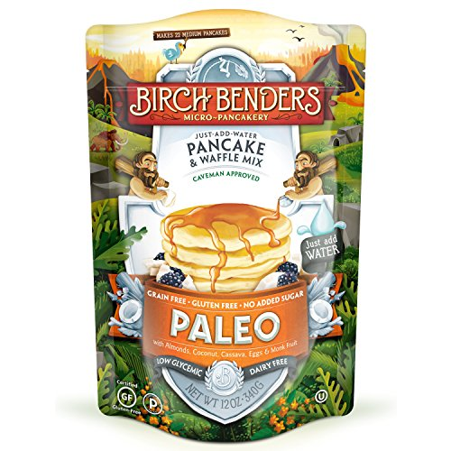 Paleo Pancake amp Waffle Mix by Birch Benders LowCarb High Protein High Fiber Glutenfree Low Glycemic Prebiotic KetoFriendly Made with Cassava Coconut amp Almond Flour Just Add Water 12 oz