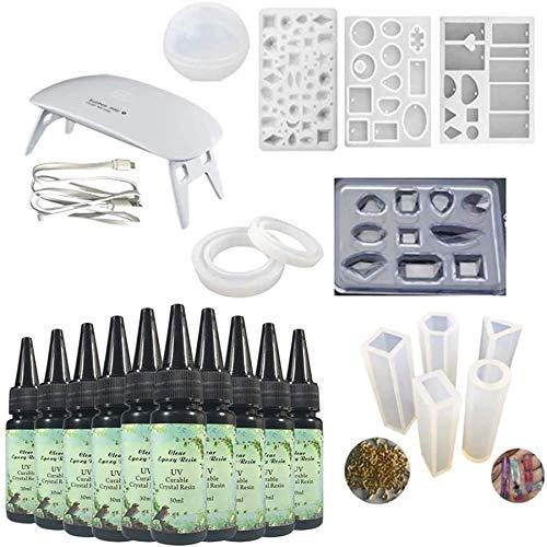 10 piezas de resina epoxi de cristal de 30 ml + 12 moldes con 100 anillos + lámpara LED UV para artesanía DIY Pendientes de joyería Collar Pulsera Fabricación de artesanías