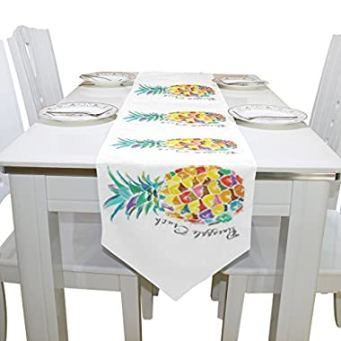 Naanle Double-Sided Fruit Pineapple Polyester Table Runner 13 x 70 Inches Long White Table Top Decoration