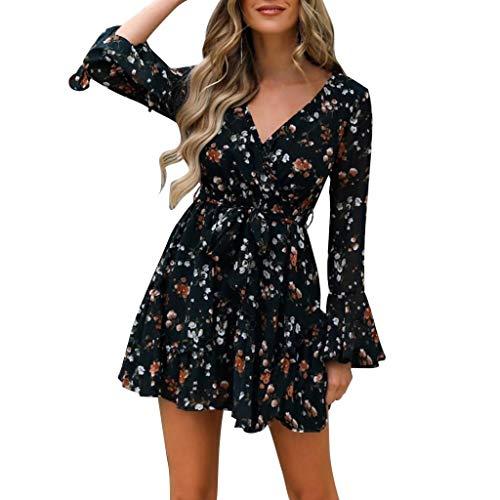 Vestido de Lunares Mujer, Estampado Floral Vestidos de Manga Larga con Volantes, Cuello En V Mini Vestidos Cortos, Vestidos Flores Bohemios, Mini Vestido Cóctel Fiesta de Noche Verano