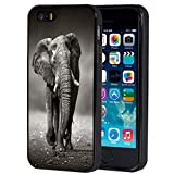 iPhone 5/5S Case,iPhone SE Case,African Elephant Anti-Scratch Shock Proof Black TPU and PC Protection Case Cover for Apple iPhone 5/SE/5S