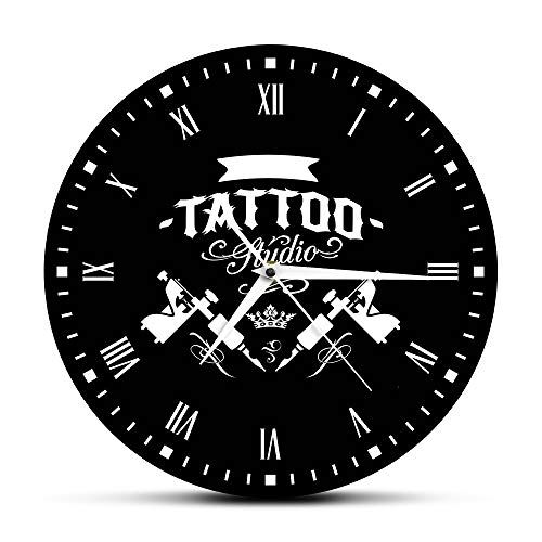 guijinpeng Old School Art Tattoo Studio Reloj de Pared Moderno Cráneo y Reloj Tribal Reloj Salon Shop Tattoo Studio Decoración Tattooist Gift