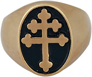 Zovivi Gold Plated Cross of Lorraine Stainless Steel Mens Ring